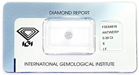 Foto 1, 0,30 Carat Diamant Lupenrein River Hochfeines Weiss IGI, D6277
