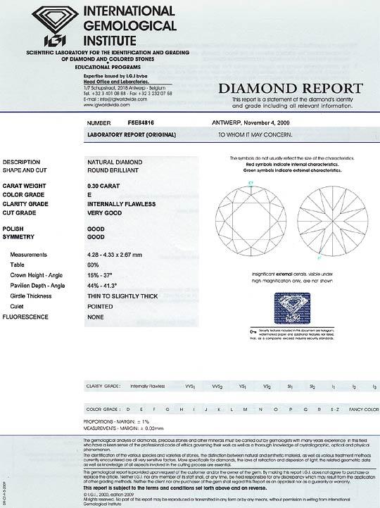 Foto 9, 0,30 Carat Diamant Lupenrein River Hochfeines Weiss IGI, D6277