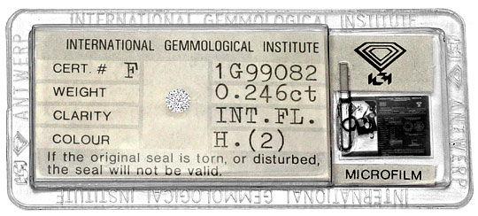 Foto 1, Diamant 0,246ct Brilliant IGI Lupenrein Wesselton Weiss, D6278