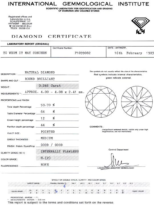 Foto 9, Diamant 0,246ct Brilliant IGI Lupenrein Wesselton Weiss, D6278