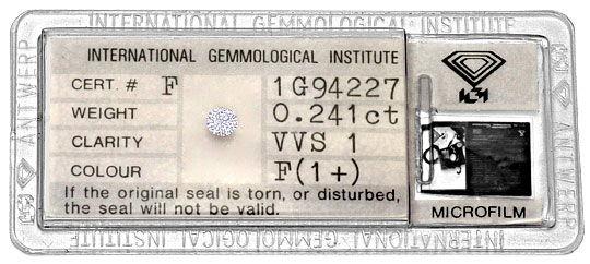 Foto 1, Diamant 0,241 Carat Brillant IGI feines Weiss Plus VVS1, D6280