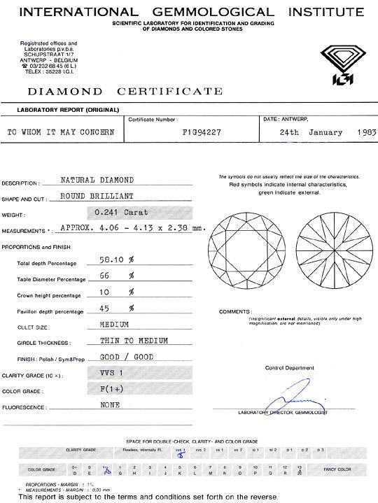 Foto 9, Diamant 0,241 Carat Brillant IGI feines Weiss Plus VVS1, D6280