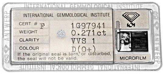 Foto 1, Diamant 0,271 Carat Brillant VVS1 River D IGI Expertise, D6284