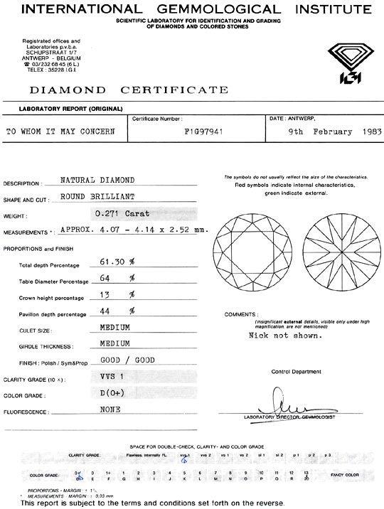 Foto 9, Diamant 0,271 Carat Brillant VVS1 River D IGI Expertise, D6284