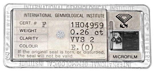 Foto 1, Brillant 0,26ct Diamant River Hochfeines Weiss VVS2 IGI, D6285