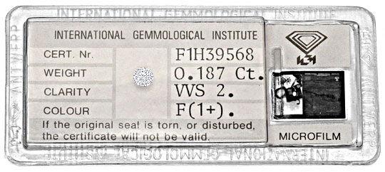 Foto 1, Diamant 0,187 Brillant IGI Expertise Top Wesselton VVS2, D6287