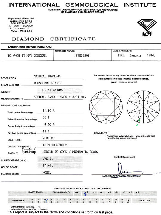 Foto 9, Diamant 0,187 Brillant IGI Expertise Top Wesselton VVS2, D6287