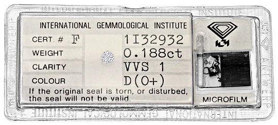 Foto 1, Diamant 0,188 Carat Brillant IGI Expertise River D VVS1, D6293