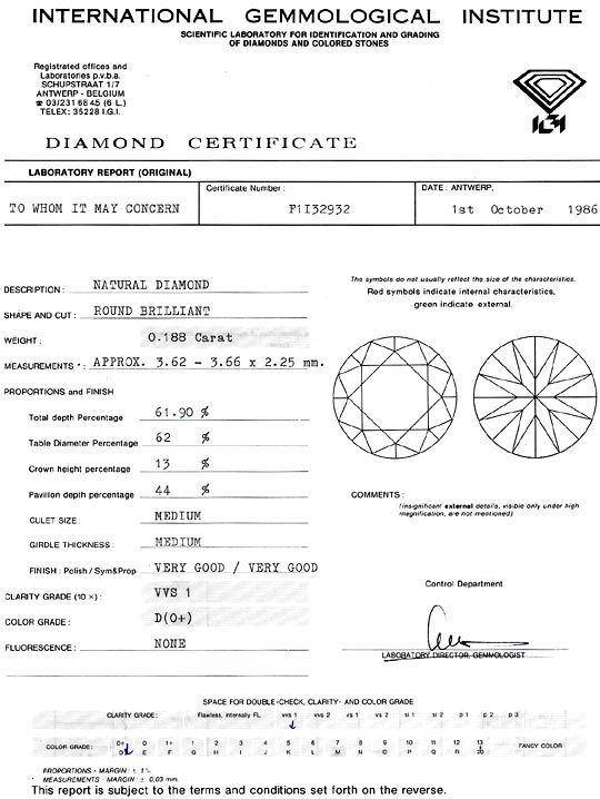 Foto 9, Diamant 0,188 Carat Brillant IGI Expertise River D VVS1, D6293