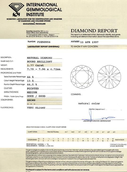 Foto 9, Brillant 1,77 Carat Super Bronze Kupfer Gold Braun, IGI, D6294