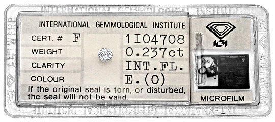 Foto 1, Diamant 0,237 River E Lupenrein Brillant, IGI Expertise, D6297