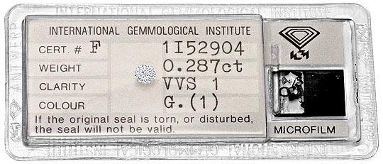Foto 1, Diamant 0,287 Brillant IGI Expertise Top Wesselton VVS1, D6301