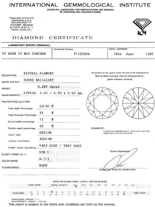 Foto 9, Diamant 0,287 Brillant IGI Expertise Top Wesselton VVS1, D6301