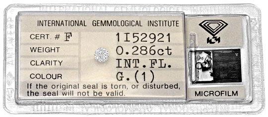 Foto 1, Diamant 0,286Carat Brillant IGI Lupenrein Top Wesselton, D6302