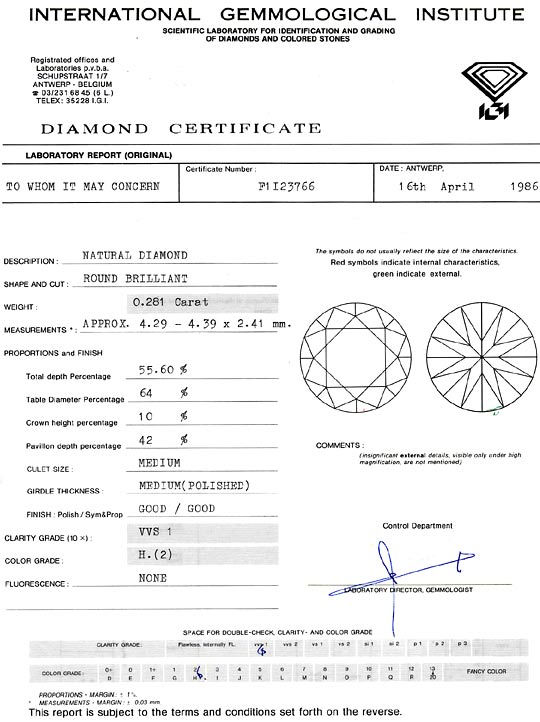 Foto 9, Diamant 0,281 ct Brilliant IGI Gutachten Wesselton VVS1, D6303