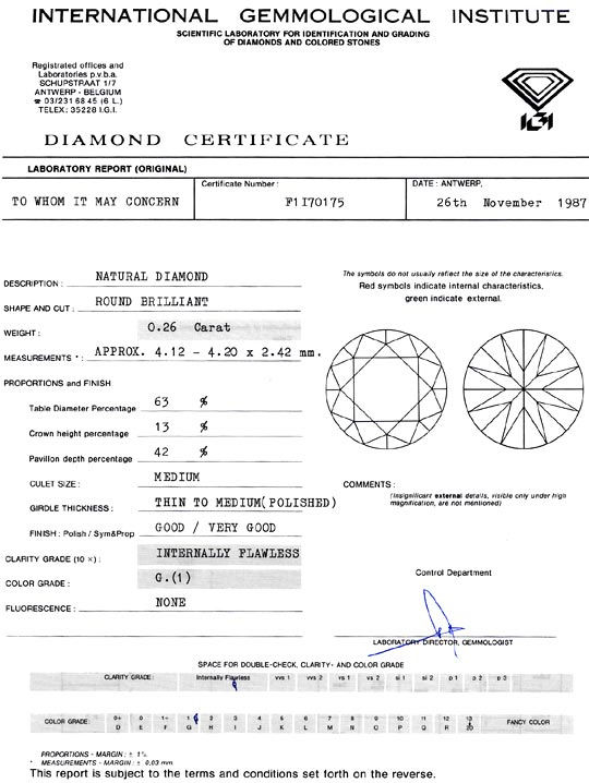 Foto 9, Diamant 0,26 ct Brilliant Lupenrein Top Wesselton G IGI, D6308
