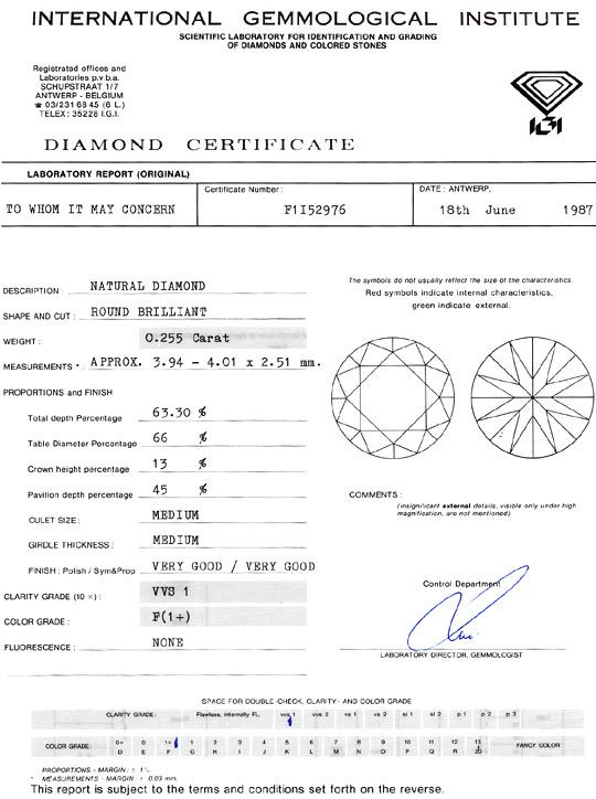 Foto 9, Diamant 0,255 Carat Brillant feines Weiss Plus VVS1 IGI, D6309