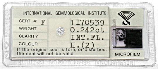 Foto 1, Diamant 0,242ct Brilliant Lupenrein Wesselton Weiss IGI, D6310