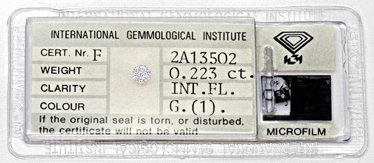 Foto 1, Diamant 0,223Carat Brillant Lupenrein Top Wesselton IGI, D6314