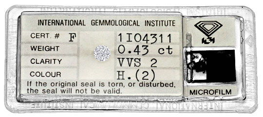 Foto 1, Diamant 0,43 Carat Brilliant IGI Wesselton Weiss H VVS2, D6317
