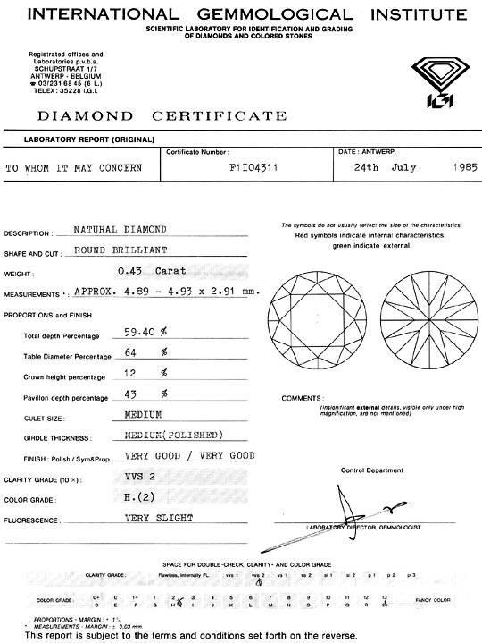 Foto 9, Diamant 0,43 Carat Brilliant IGI Wesselton Weiss H VVS2, D6317