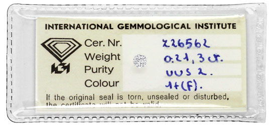 Foto 1, Diamant 0,213 Carat Brillant IGI feines Weiss Plus VVS2, D6321