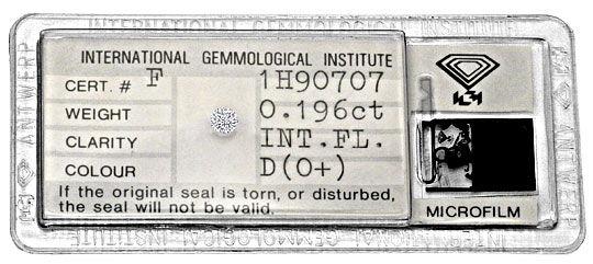 Foto 1, Diamant 0,196 Brilliant IGI Expertise Lupenrein River D, D6322