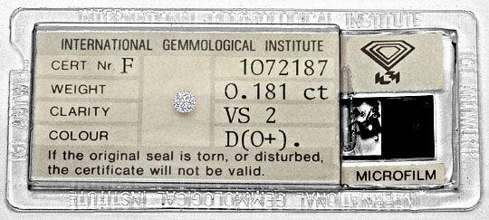 Foto 1, Diamant 0,18 Brillant IGI River D Hochfeines Weiss Plus, D6325