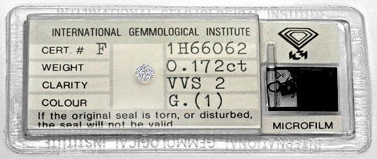 Foto 1, Diamant 0,172 Brillant IGI Expertise Top Wesselton VVS2, D6328