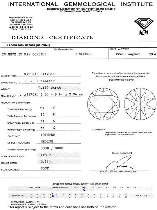 Foto 9, Diamant 0,172 Brillant IGI Expertise Top Wesselton VVS2, D6328