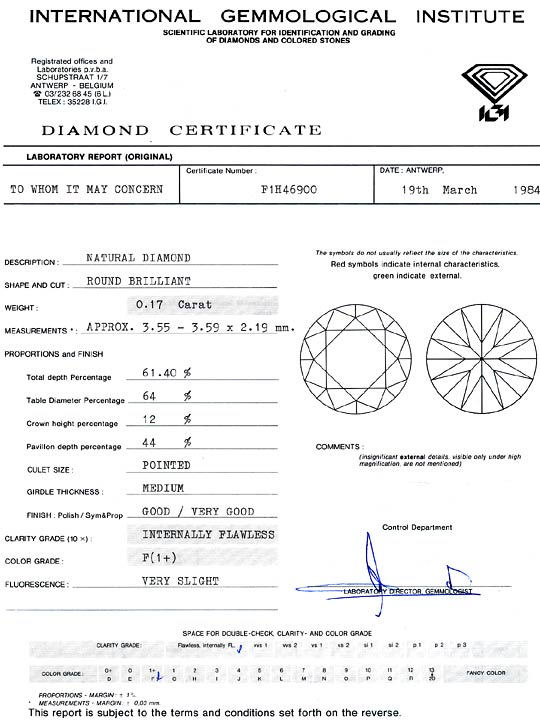 Foto 9, Diamant 0,17ct Brillant IGI Lupenrein feines Weiss Plus, D6329