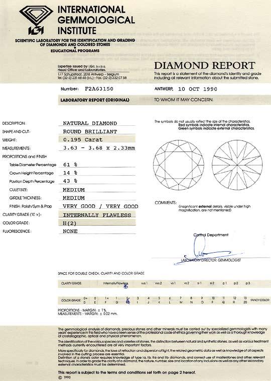 Foto 9, Diamant 0,195ct Lupenrein Wesselton Weiss Brilliant IGI, D6335