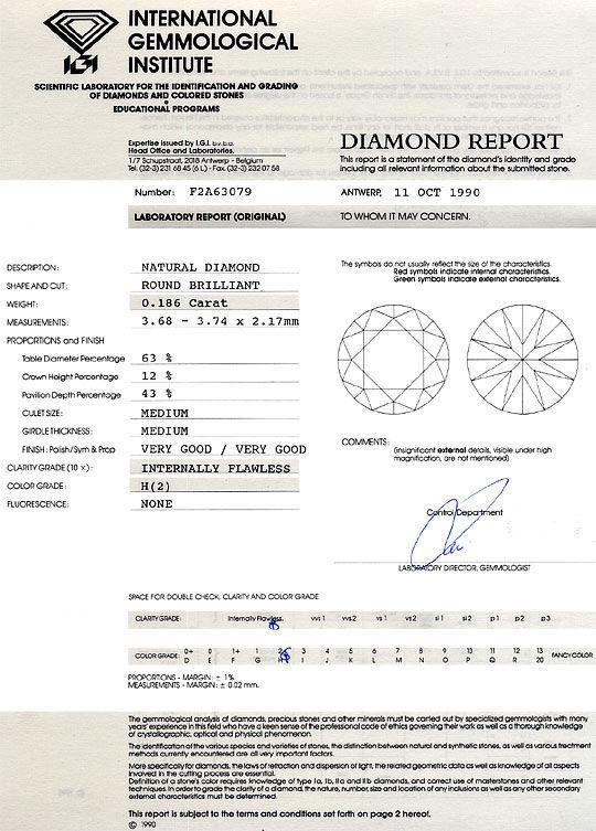 Foto 9, Diamant 0,186 ct Brillant IGI Lupenrein Wesselton Weiss, D6339