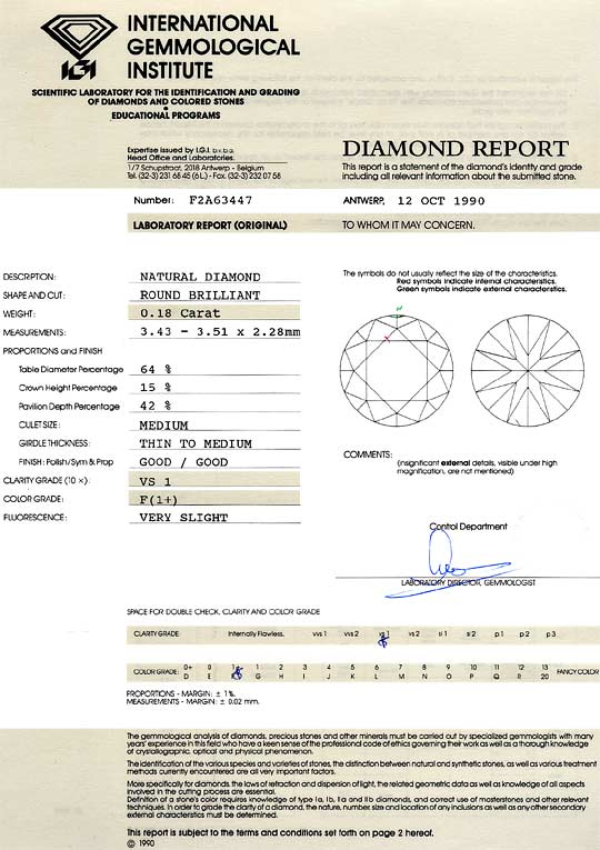 Foto 9, Diamant 0,18ct Brillant IGI Expertise VS1 Top Wesselton, D6340