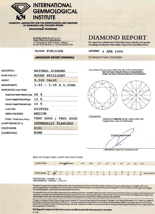 Foto 9 - Diamant 0,166ct Brilliant IGI Expertise Lupenrein River, D6343