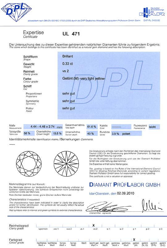 Foto 9, Diamant 0,33Carat Brillantschliff DPL Expertise Cape VS, D6347