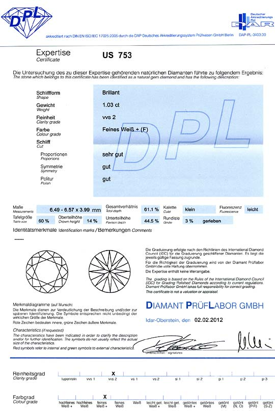 Foto 9 - Brillant 1,03 Carat DPL Top Wesselton feines Weiss Plus, D6350