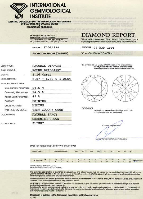 Foto 9, Diamant 1,16ct Brilliant IGI Expertise Gold Braun VVS2 , D6357