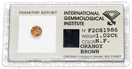 Foto 1, Diamant 1,02 ct Cognac Bronze Fancy Orangy Brown SI IGI, D6358