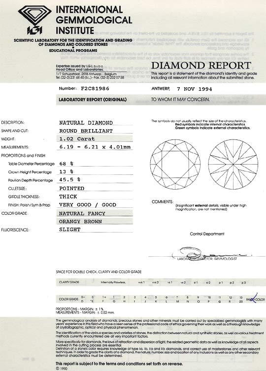 Foto 9, Diamant 1,02 ct Cognac Bronze Fancy Orangy Brown SI IGI, D6358