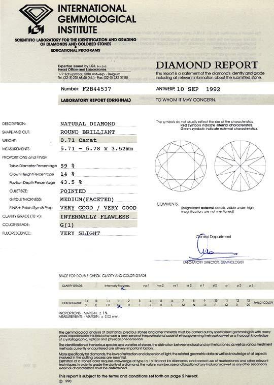 Foto 9, Diamant 0,71 Carat Brillant IGI Lupenrein Top Wesselton, D6360