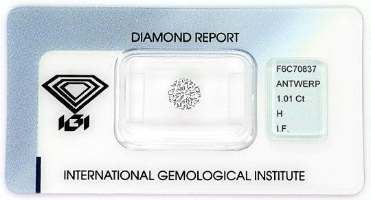 Foto 1, Diamant 1,01ct Brillant IGI Lupenrein Wesselton Weiss H, D6362