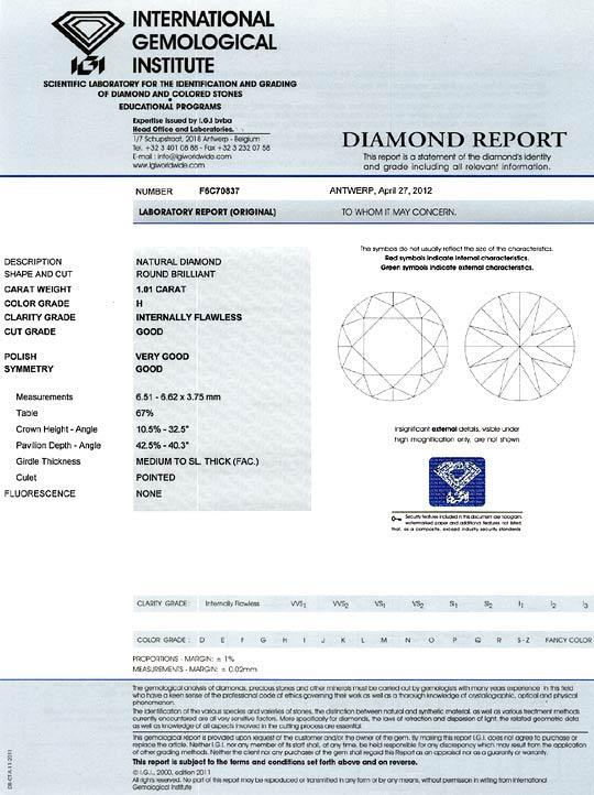 Foto 9, Diamant 1,01ct Brillant IGI Lupenrein Wesselton Weiss H, D6362