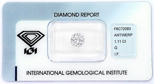 Foto 1, Brilliant 1,11 ct IGI Expertise Lupenrein Top Wesselton, D6365