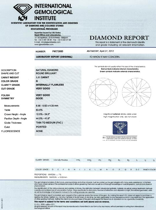 Foto 9, Brilliant 1,11 ct IGI Expertise Lupenrein Top Wesselton, D6365