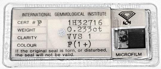 Foto 1, Diamant 0,233 Brillant IGI Expertise Top Wesselton VVS1, D6374