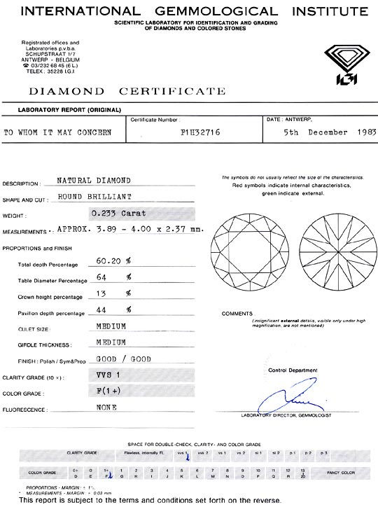 Foto 9, Diamant 0,233 Brillant IGI Expertise Top Wesselton VVS1, D6374