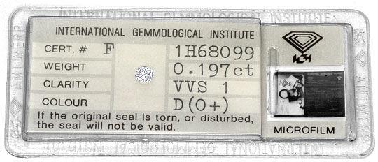 Foto 1, Diamant 0,197 Carat Brillant River D VVS1 IGI Expertise, D6375
