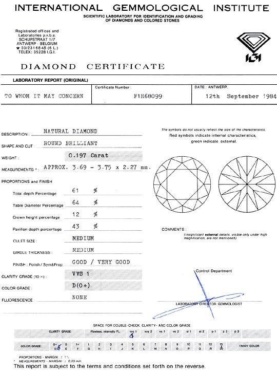 Foto 9, Diamant 0,197 Carat Brillant River D VVS1 IGI Expertise, D6375