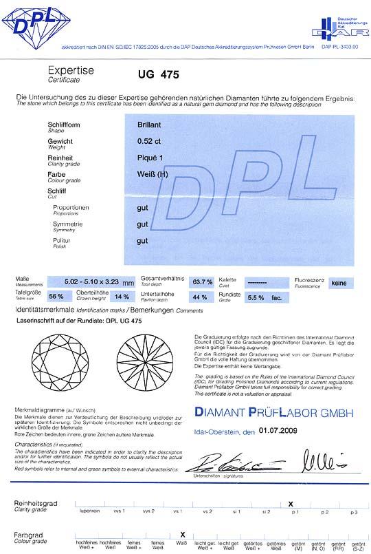 Foto 9, Diamant 0,52ct Brillant Halbkaräter Wesselton Weiss DPL, D6378